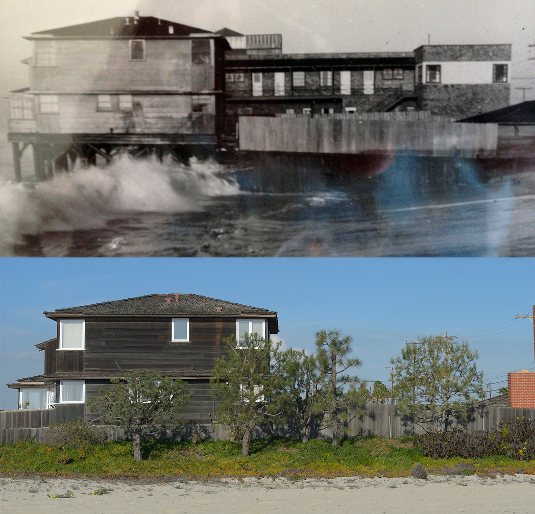 TOP: Home of Shelly Reid in the 5400 block of Ocean Blvd. in 1938 in Long Beach. BOTTOM: Same house today.